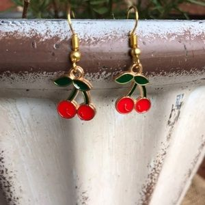 NWT Boutique Earrings Cherries Red, Green, Gold
